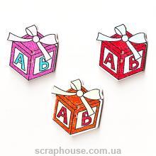 Деревянная аппликация Новогодний подарок пуговица