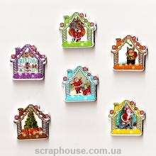 Деревянная аппликация Новогодний домик пуговица
