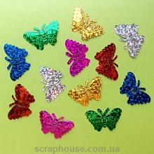Бабочки пайетки ассорти голограммные